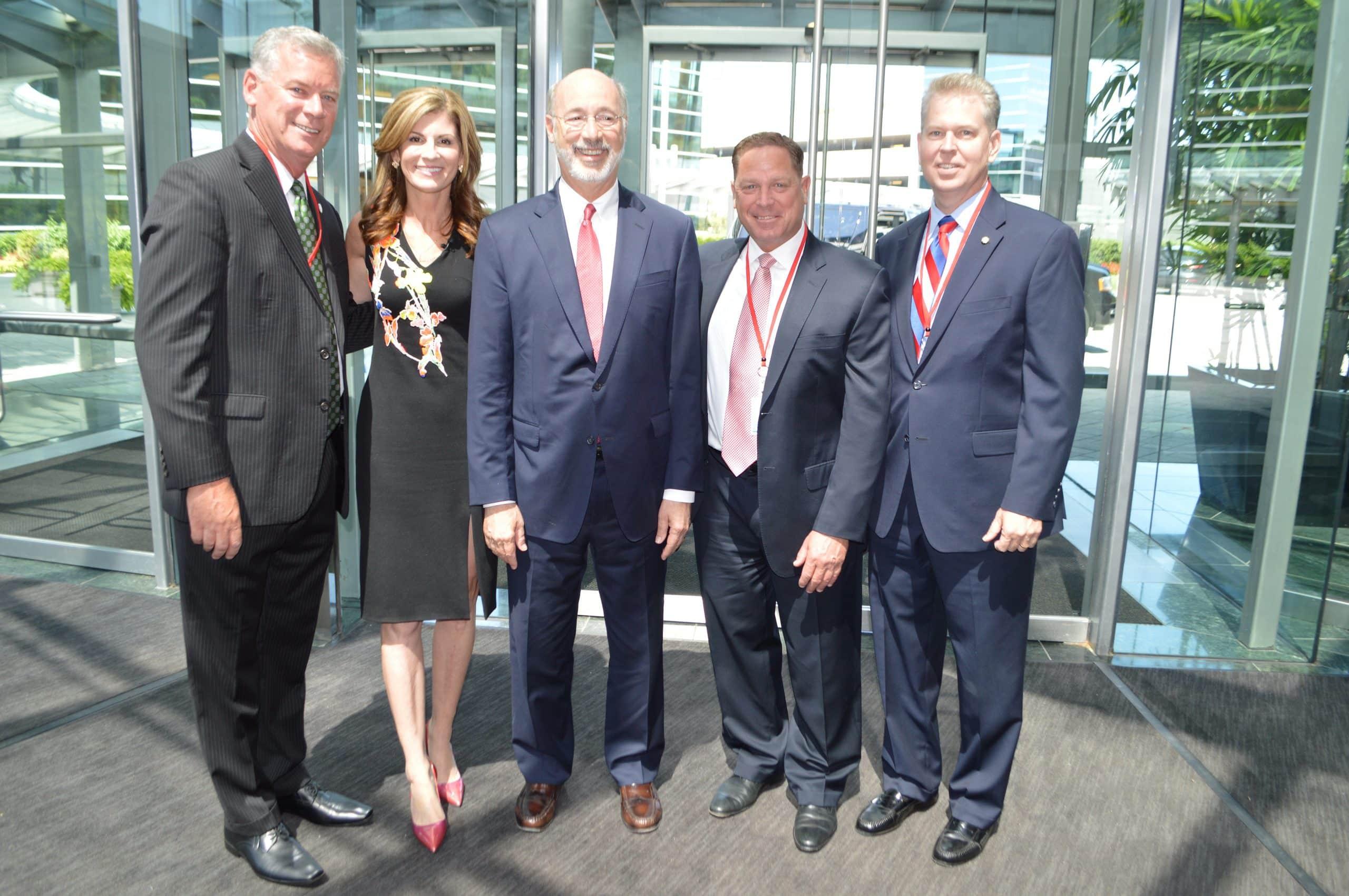 From left: State Senator Tom McGarrigle, SAP North America President Jennifer Morgan, Governor Tom Wolf, Delaware County Councilman Dave White and State Representative Chris Quinn.