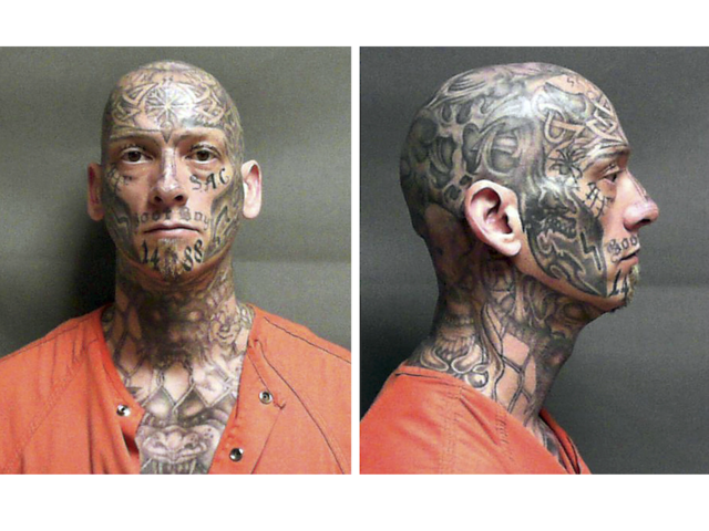 This pair of undated identification photos released by the U.S. Marshal's Office shows Eric Judkins, an inmate at a halfway house in Manchester, N.H., who failed to return to the facility Monday night, Aug. 28, 2017. Officials are seeking the public's help in finding the heavily tattooed escaped inmate, with designs covering his shaved head, face, neck, chest, arm and hands. (U.S. Marshal's Office via AP)
