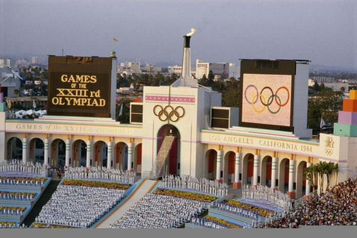 An overview of the opening ceremony at the Los Angeles Coliseum during the lighting of the Olympic flame of the 1984 Summer Olympics, July 28, 1984. Steve Powell/Getty Images