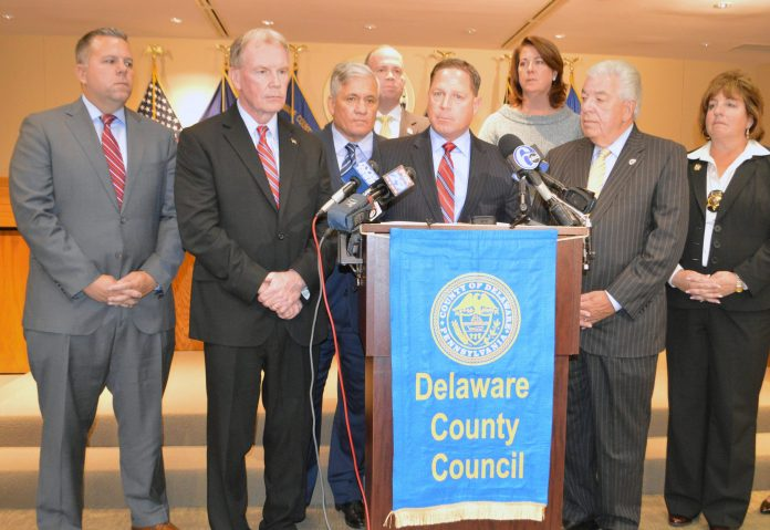 Pictured, from left, Councilman Michael Culp, District Attorney Jack Whelan, Trial attorney Robert J. Mongeluzzi, of Saltz, Mongeluzzi, Barrett & Bendesky, Councilman John McBlain, Councilman Dave White, Vice Chair Colleen Morrone, Chairman Mario J. Civera, Jr., and Sheriff Mary McFall Hopper.