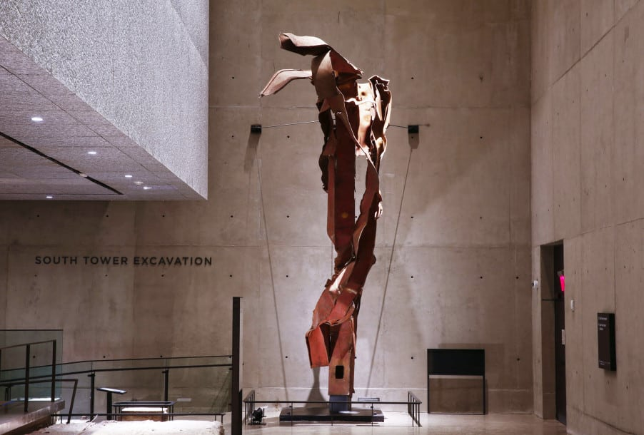 "It looks like an abstract sculpture, a disquieting artistic piece reminding museum visitors of the carnage. But this ""impact steel"" was part of the facade of the north tower, and was located at the point of impact where hijacked Flight 11 pierced the building between floors 93 and 99. The jet was carrying 10,000 gallons of fuel and was traveling at about 465 mph when it hit the tower. (PHOTO NEW YORK POST/JIN LEE)"