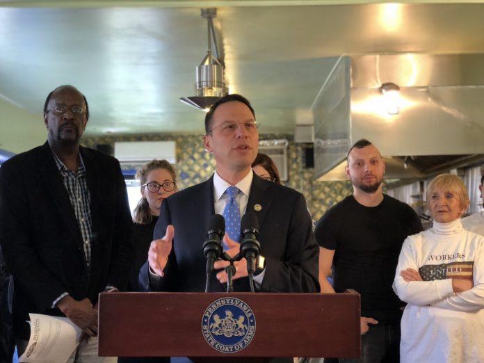 Pennsylvania Attorney General Josh Shapiro speaking at Morning Glory Diner in the Bella Vista neighborhood of Philadelphia. (YC.NEWS PHOTO/NIK HATZIEFSTATHIOU)