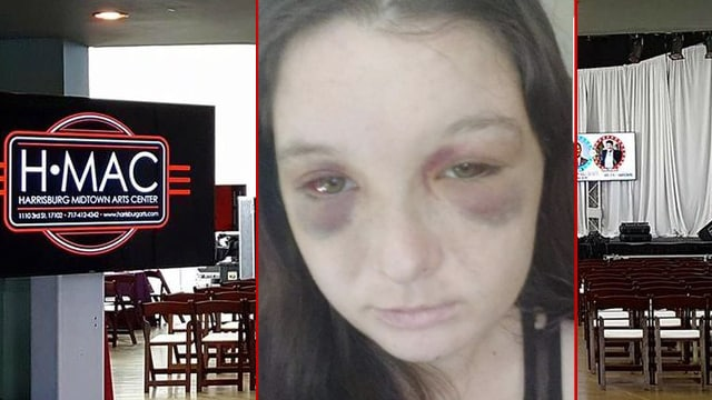Harrisburg Midtown Arts Center & latest victim's photograph following brutal rape that allegedly took place after security handed her off to her rapist.