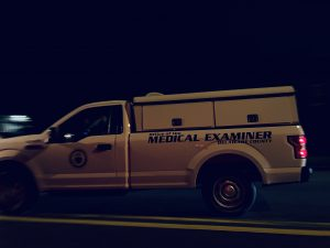 Delaware County Medical Examiner arriving on the scene of a homicide in Tinicum, Delaware County. (yc.news photo/exclusive)