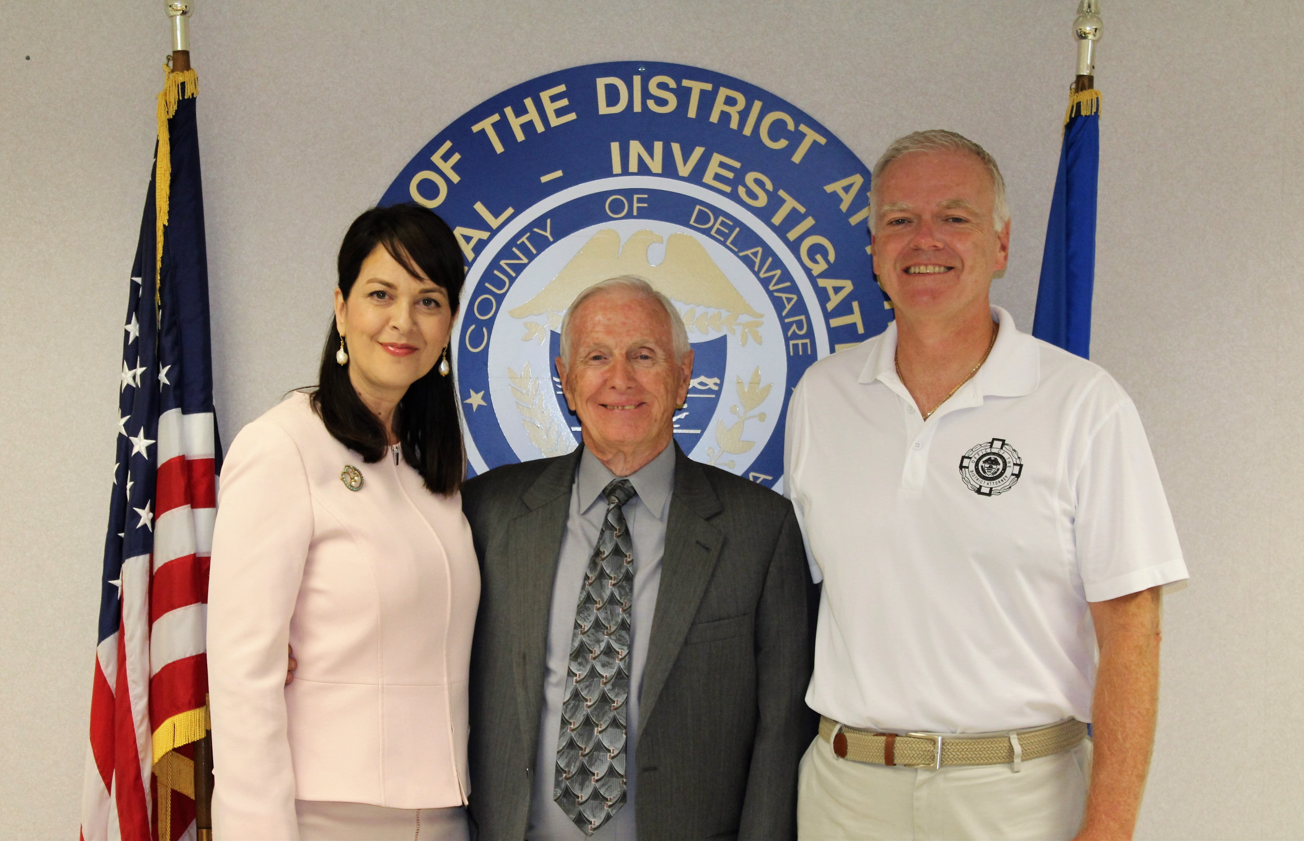 Photo caption: On August 31, 2018, CID detectives and staff recognized Sergeant Jack Kelly for his longtime service and bid him farewell on his last day. Pictured from left, District Attorney Katayoun M. Copeland, Sergeant Jack Kelly, and CID Chief Joseph A. Ryan.