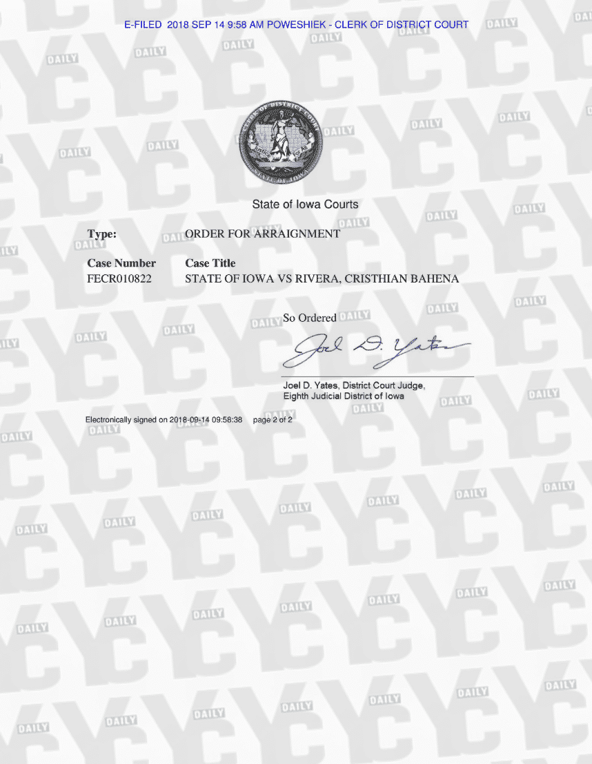 Mollie Tibbetts' accused killer Cristhian Bahena Rivera to appear in court Wednesday. (yc.news)