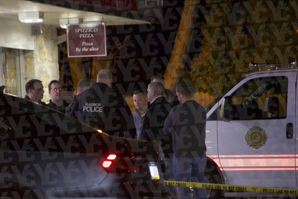 Authorities in Delaware County, Pennsylvania on location of a homicide at the Wawa on Sugartown Road in Radnor. Photo: yc.news/exclusive