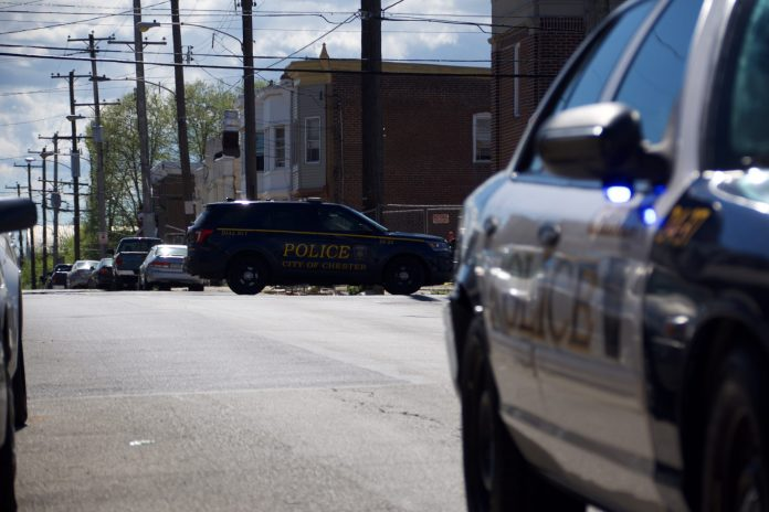 Police are now at the intersection of 3rd and Highland after gunfire erupted for the second time in the City of Chester, Delaware County on Easter Sunday. (© YC.NEWS EXCLUSIVE/ERIC NORTON)