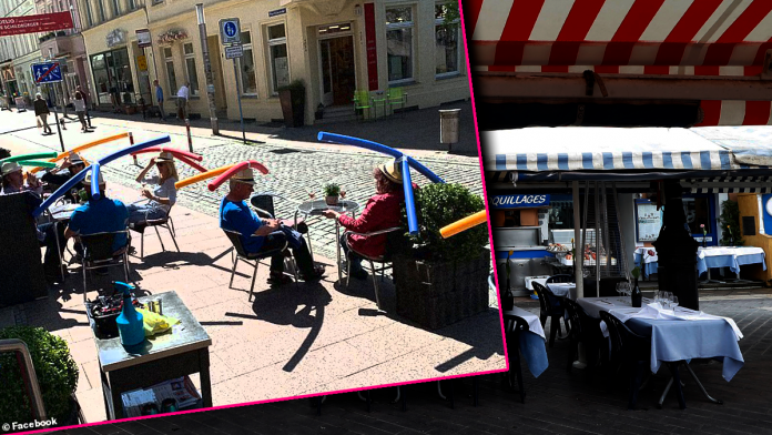 Cafe Makes Patrons Wear Swimming Noodle Hats to Curb the Spread of COVID-19