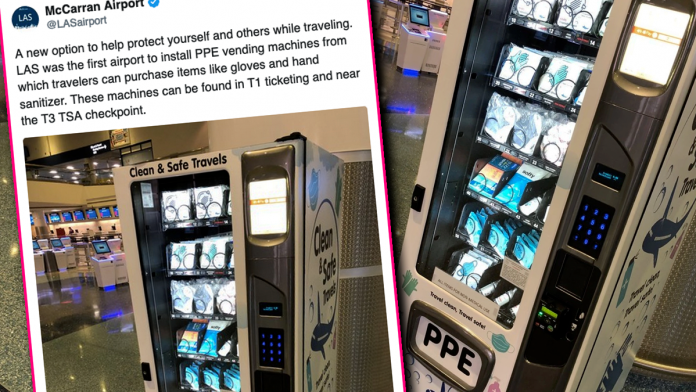 Vegas Airport Becomes First to Reveal 'PPE Vending Machines' That Dispense Masks and More