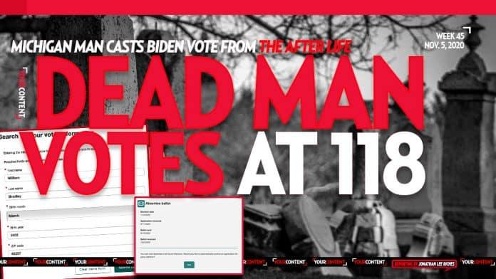 Michigan's Voter Portal Reveals 118-Year-Old Dead Man Casts Ballot for Joe Biden on Sept. 11, 2020