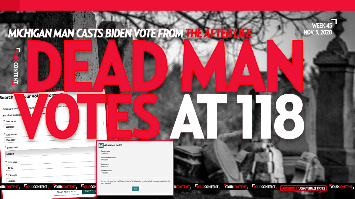 Michigan's Voter Portal Reveals 118-Year-Old Dead Man Casts Ballot for Joe Biden on Sept. 11, 2020